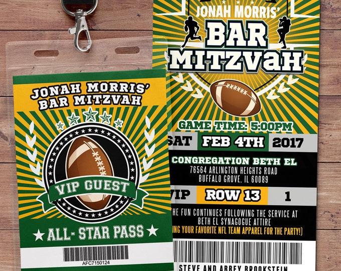 Football ticket Invitation // All Star Birthday //  VIP pass,, Super Bowl Party, sports birthday, ticket invite, Bar Mitzvah, football