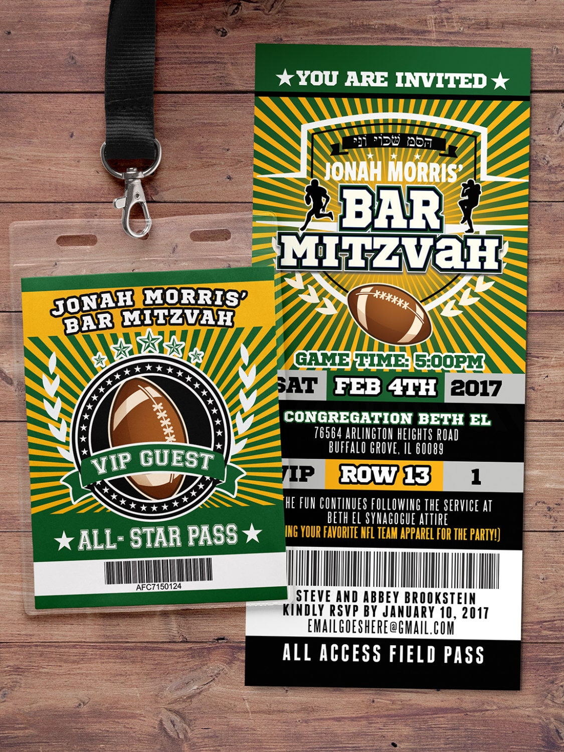 Football ticket Invitation // All Star Birthday // VIP pass,, Super ...