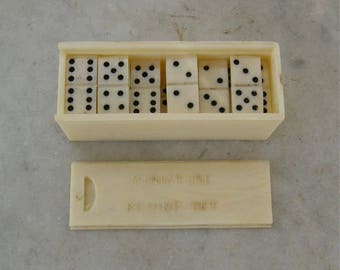 "MINIATURE DOMINOES in BOX Full Set of 28 Dominos 1/2"" X 5/16"" Pocket or Travel Size Mid 1900's Ad for Shackman N Y 10001 Hong Kong 1900's"