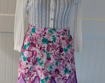 Retro half apron, vintage apron, purple and blue flowers, patterned, design, front pocket, handmade, accessories, cotton