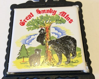 Vintage Great Smoky Mtns Cast Iron and Tile Trivet