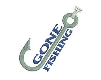 gone fishing machine embroidery design Instant Download