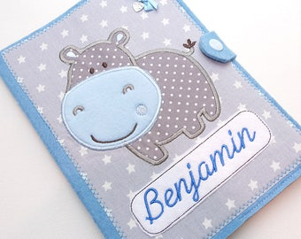 "2 in 1 U-stitch case, document bag, examination booklet ""Hippo""-light blue/grey"