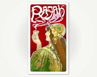 Rajah Coffee Advertising Poster Print - Vintage French Art Nouveau Poster - Henri Privat-Livemont Poster Art