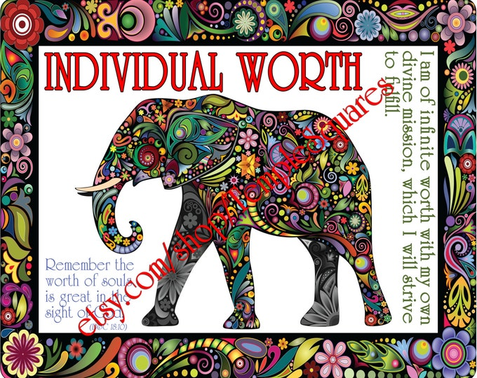 """PRINTABLE Young Women Values Personal Progress """"INDIVIDUAL WORTH"""" 4x6, 5x7, and 8x10"""