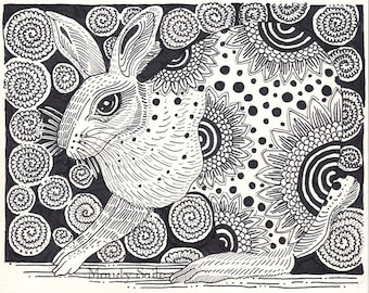 "Rabbit Ink Drawing 3 - a whimsical black & white 8 x 10"" ART PRINT of a playful and happy rabbit with great flower decorations and whimsy"