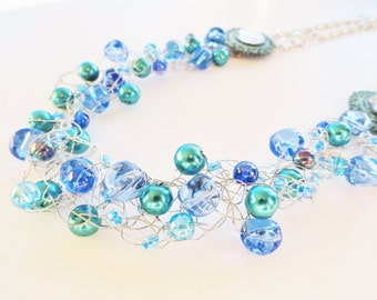 Ocean Blue Turquoise Teal Silver Wire Crochet Necklace Beaded Pearl Woven Handmade Jewelry By Distinctly Daisy