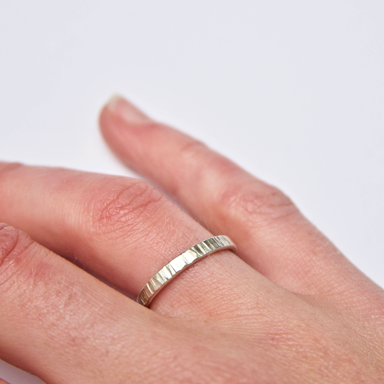 Tree Bark White Gold Ring Size K - Hammered Wedding Ring - Unique ...
