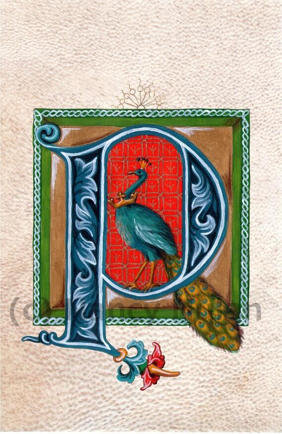 Medieval Illuminated Letter P Alphabet Letter P Painted