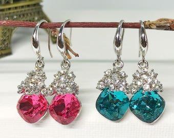Rhombus Bridal Earrings Wedding Earrings Birthday Earrings 2 colours: Pink/Turquouise