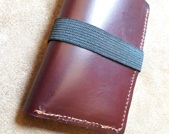 Mini Brown hand-sewn wallet with pockets for ATMs and banknotes