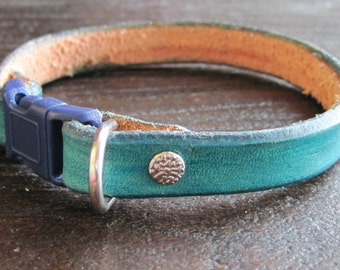 Purrfect Leather Cat Collar - Turquoise - Breakaway Leather Cat Collar - Cat Collar - Break-Away Collar - Safety Break Away Collar