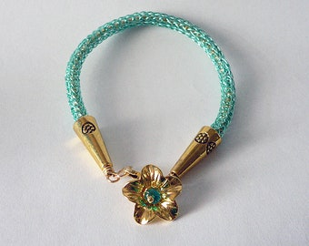 Eione - Viking knit teal and gold bracelet