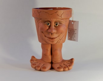 Ceramic Pot - Face Pot - People Pots - Our Family Crafts - Unique Gift Ideas - Funny Gift Ideas - Gift for Him - Face Pot Gift -Face Planter