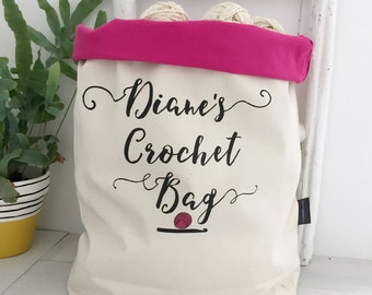 Large Crochet Bag | Personalised Crochet Roll Top | Large Craft Zip Bag | Crochet Storage | Crochet Gift | Large Crochet Project Bag