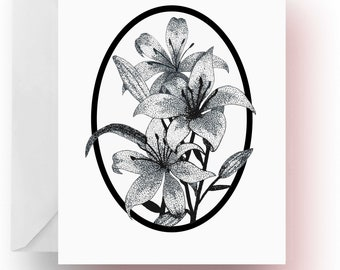 Pen and Ink Art, Flower Note Cards, Lilies Note Cards, Flower Lover Gift, Flower Stationery, Note Cards, Cards, Stationery