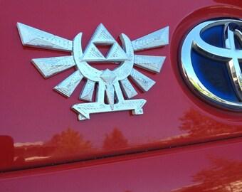 Fanart 3D printed silver Zelda Hyrule Crest Triforce car decal/logo/magnet, great gift for nerd girl or boy