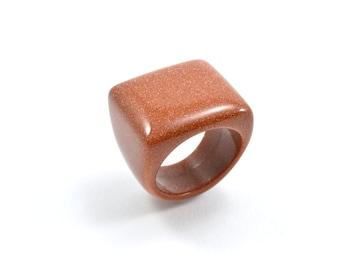 Size 9, Solid goldstone ring, goldstone ring, stone ring, solid stone ring,  ring