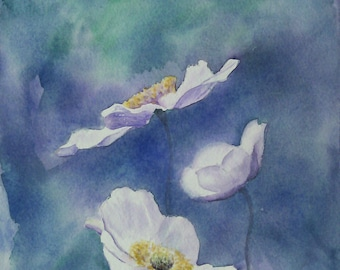 original watercolor  painting of flowers  floral art original painting, hand made