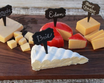 Set of 4 Chalkboard Cheese Markers, for wine and cheese tasting, Cupcake Tag, Food Tag, Perfect for Wine and Cheese Parties --6953