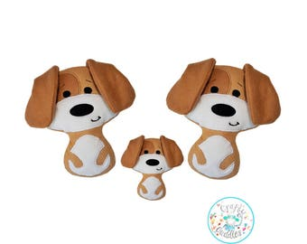 ITH Puppy Dog Stuffie Machine Embroidery Pattern, ITH soft toy, ITH stuffie, in the hoop toy, Puppy softie, Plushie, in the hoop softie