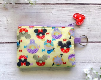 Disney donuts zipper pouch, credit card wallet, makeup bag, pencil pouch, eco friendly pouch, choose your size