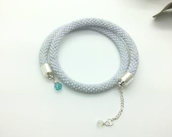 Beaded crochet bracelet, memory wire bracelet, wrap around bracelet, white crochet bracelet, bracelet charms, woman gift, seed beads choker