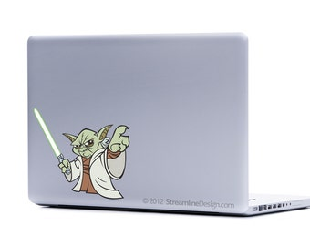 Star Wars Yoda sticker | Vinyl Laptop decal free shipping laptop sticker yoda decal yoda decor star wars movie geeky gifts macbook decal
