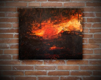 Sunset Abstract Art - Large Abstract Painting - Sunset Art - Tree Talker Art