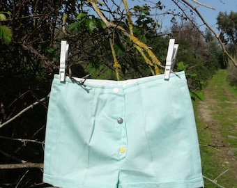 Kids shorts summer cotton green childrens shorts 4T 5 kids summer clothes vintage 1960s New Old Stock size 4T - 5