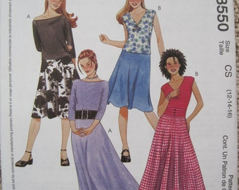 UNCUT Girls Tops and Skirts in Two Lengths - McCalls Pattern 3550 - Size 12, 14, 16