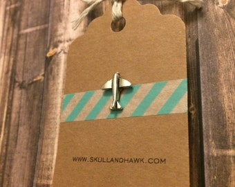 Tiny Airplane Lapel Pin / Tie Tack - Silver Tone - Tack Backing with Clutch Clasp