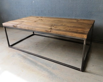 Industrial Chic Style Reclaimed Custom Coffee Table TV Stand   Steel Solid  Wood Metal Hand Made