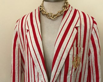 Vintage 1980's ||Danielle B Red and white stripped blazer || feat. gold accents|| size:medium