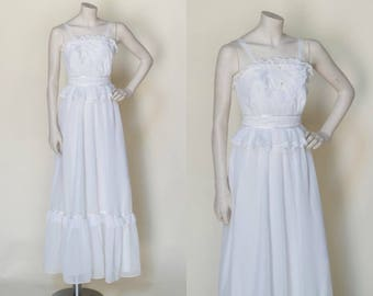 1970s Maxi Dress --- Vintage Boho Wedding Dress