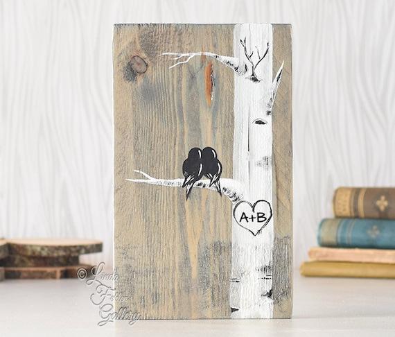 Liebe Vögel Art rustikal Holz Zeichen aufgearbeiteten Holz Art