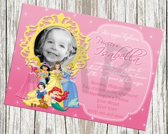Disney Princess Photo Birthday Invitation