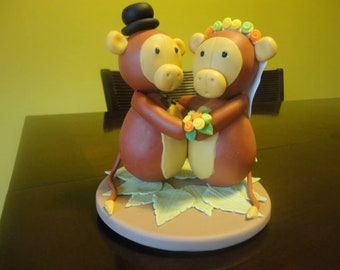 Monkey Bride and Groom Cold Clay Cake Topper Figurine