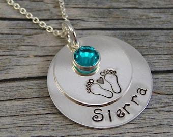 Fabriquées à la main bijoux - bijoux personnalisés - nouvelle maman Collier - argent Sterling collier - un nom une pierre de naissance - empreintes avec coeur