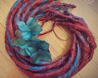 Mermaid Dreads Set Auburn and Blues