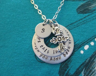 Esther 4:14 Perhaps this is the moment for which you have been created - hand stamped stacked washers - Personalized initial necklace