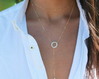 Lariat necklace, 14 kt gold fill necklace, pearl lariat necklace, gold fill long necklace, gold choker necklace, gold statement necklace