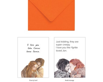 Game of Thrones Funny Greeting Card - Cersei and Jamie Lannister, Ygritte and Jon Snow