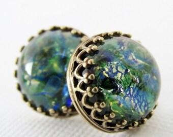 Opal Earrings, Opal Stud Earrings, Opal Jewelry, Emerald Green Stud Earrings, Rare Vintage Opal Earrings, Vintage Glass Opal Earrings,
