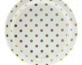 Gold Foil Polka Dot Party Plates - Set of 12 Sambellina Gold Foil Dot Circle Plates- Great for Birthday Parties or Showers!
