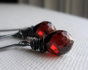 Dark Garnet Cubic Zirconia Earrings, Oxidized Sterling Silver Wrapped, Minimalist Sangria Red CZ Earrings, January Birthstone