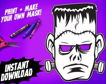 PRINTABLE Frankenstein Coloring Mask, kids paper halloween mask, DIY halloween costume, great for Halloween parties, instant download PDF