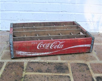 Vintage Wooden Coca Cola Crate  Vintage Red and White Coca Cola Crate