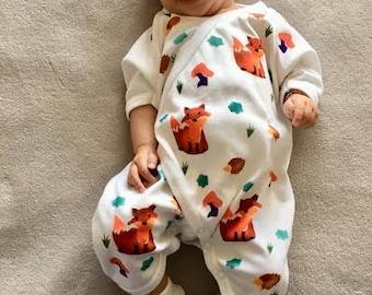 Fox Baby Kimono, One Piece, Unisex Baby, Handmade, Hipster, Boho Baby, Infant One Piece, Take Home, Baby Gift, Newborn