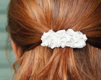 White fabric small french barrette hair clip hair slide Hair Accessory
